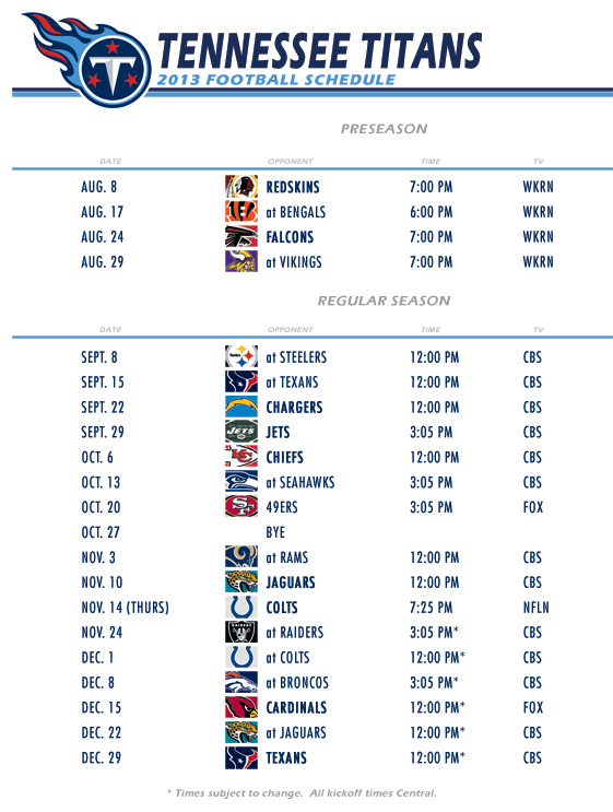 Titans 2013 Schedule First Glance Titan Sized A Tennessee