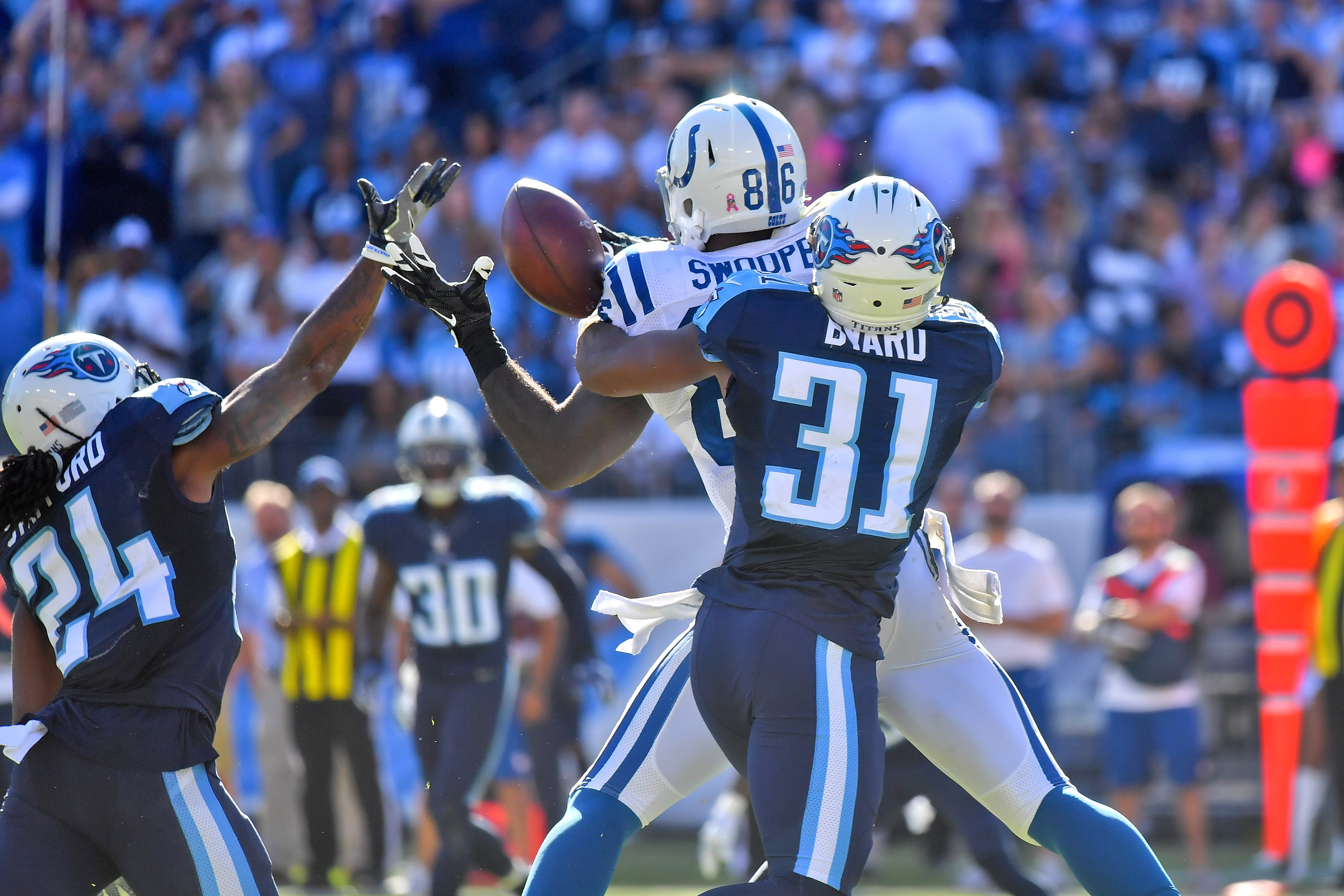 Oct 23 2016 Nashville TN USA Tennessee Titans Safety Kevin Byard 31 And Teammate Strong Daimion Stafford 24 Break Up A Pass Intended
