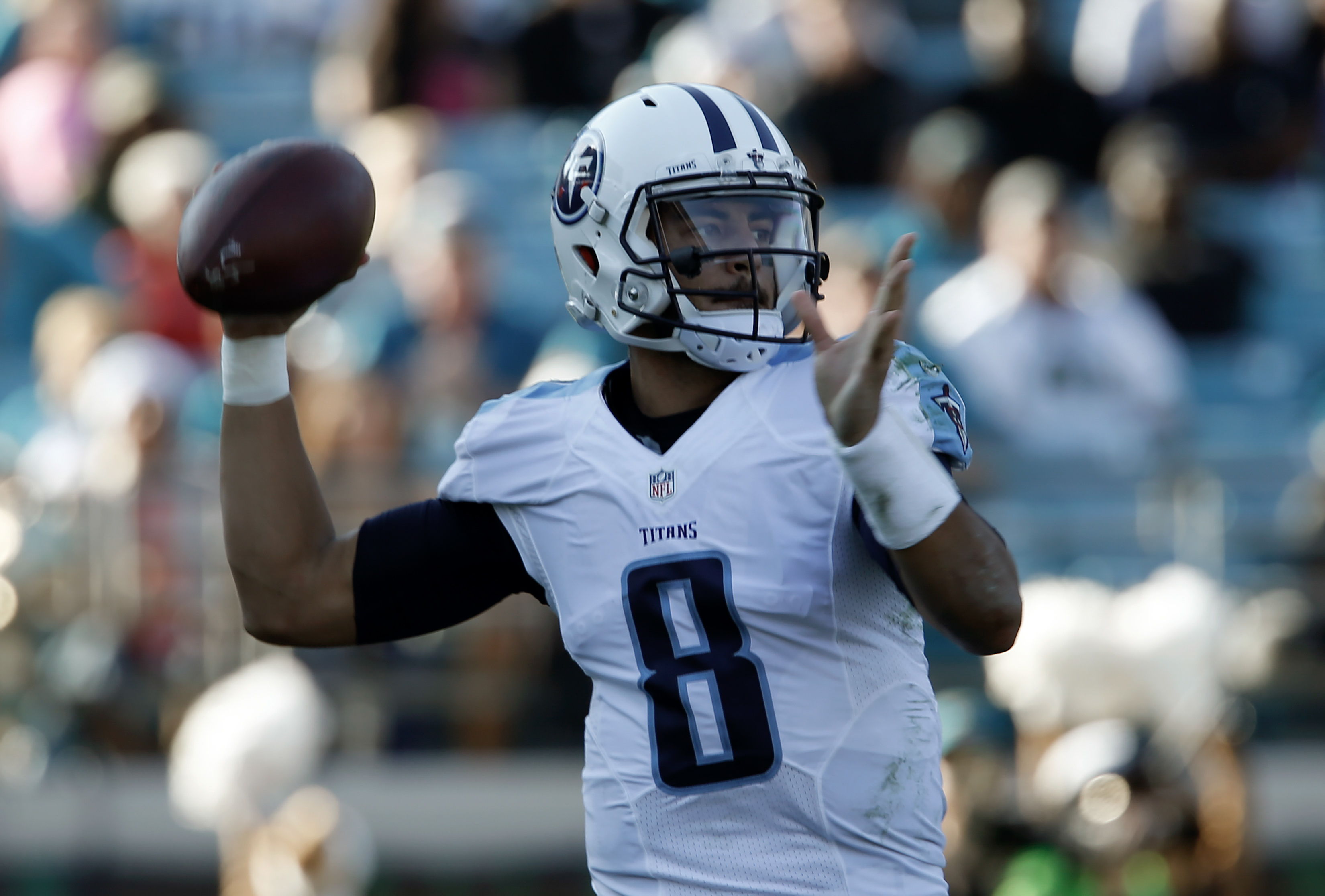 Dec 24 2016 Jacksonville FL USA Tennessee Titans Quarterback Marcus Mariota 8 Throws A Pass During The Third Quarter Of An NFL Football Game Against